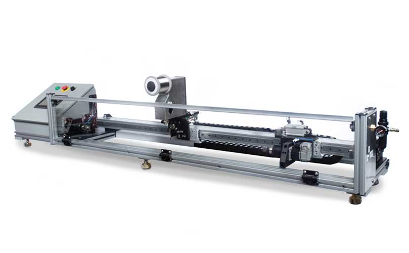 Image shows Engineering By Design's Benchtop Winder Stretch Extended option with Pneumatic Mandrel Tension